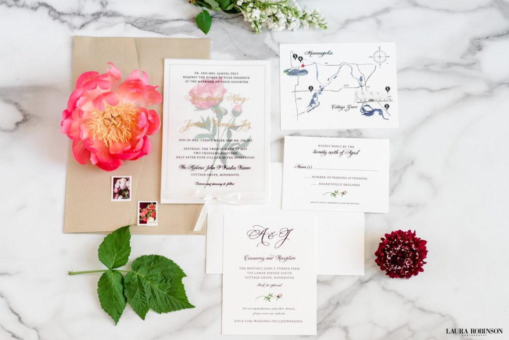 invitation and flowers from wedding